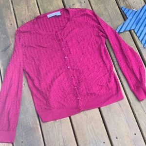 Maroon Jaclyn Smith Button Up Cardigan